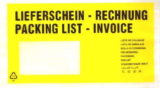 Dokumententaschen DIN lang gelb